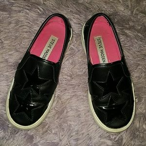 Girls size 13 black shoes with stars